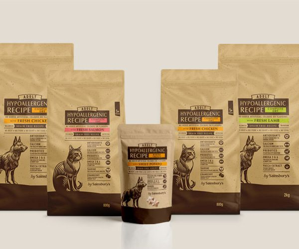 Sainsburys Hypoallergenic Dry Pet Food Packaging