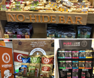 Global Pet Expo Collage of Natural Food, Grain Free Food, No Hide Bars